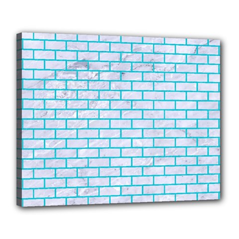 Brick1 White Marble & Turquoise Colored Pencil (r) Canvas 20  X 16  by trendistuff