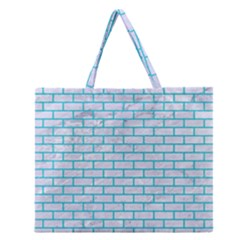 Brick1 White Marble & Turquoise Colored Pencil (r) Zipper Large Tote Bag by trendistuff