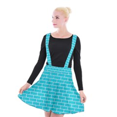 Brick1 White Marble & Turquoise Colored Pencil Suspender Skater Skirt