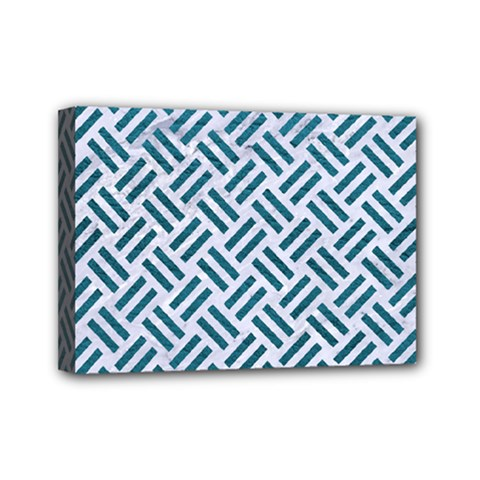 Woven2 White Marble & Teal Leather (r) Mini Canvas 7  X 5  by trendistuff