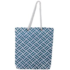Woven2 White Marble & Teal Leather (r) Full Print Rope Handle Tote (large) by trendistuff