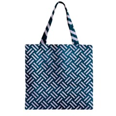 Woven2 White Marble & Teal Leather Zipper Grocery Tote Bag by trendistuff