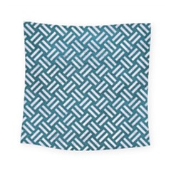 Woven2 White Marble & Teal Leather Square Tapestry (small) by trendistuff