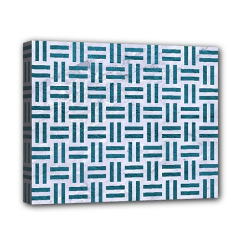 Woven1 White Marble & Teal Leather (r) Canvas 10  X 8  by trendistuff