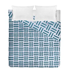 Woven1 White Marble & Teal Leather (r) Duvet Cover Double Side (full/ Double Size) by trendistuff