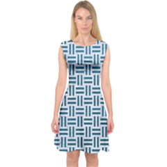 Woven1 White Marble & Teal Leather (r) Capsleeve Midi Dress
