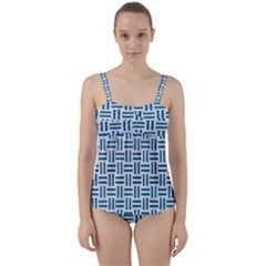 Woven1 White Marble & Teal Leather (r) Twist Front Tankini Set