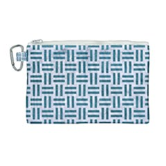 Woven1 White Marble & Teal Leather (r) Canvas Cosmetic Bag (large) by trendistuff