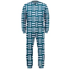 Woven1 White Marble & Teal Leather Onepiece Jumpsuit (men)  by trendistuff