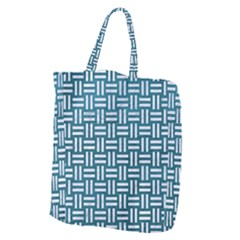 Woven1 White Marble & Teal Leather Giant Grocery Zipper Tote by trendistuff