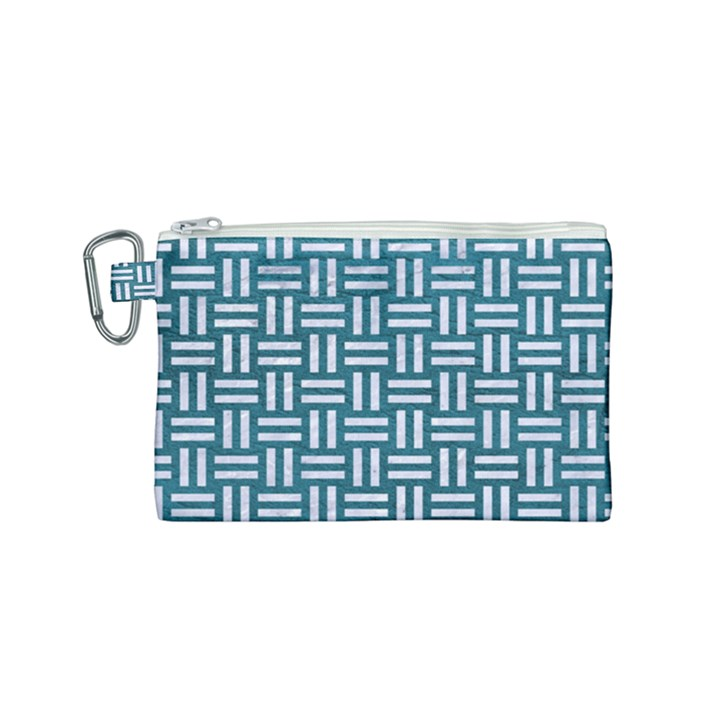 WOVEN1 WHITE MARBLE & TEAL LEATHER Canvas Cosmetic Bag (Small)