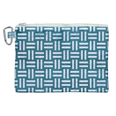 Woven1 White Marble & Teal Leather Canvas Cosmetic Bag (xl) by trendistuff
