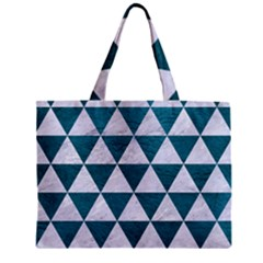 Triangle3 White Marble & Teal Leather Zipper Mini Tote Bag by trendistuff