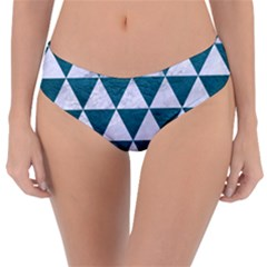 Triangle3 White Marble & Teal Leather Reversible Classic Bikini Bottoms