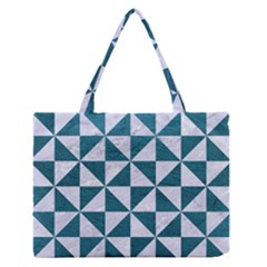 Triangle1 White Marble & Teal Leather Zipper Medium Tote Bag by trendistuff