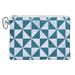 Triangle1 White Marble & Teal Leather Canvas Cosmetic Bag (xl) by trendistuff