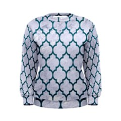 Tile1 White Marble & Teal Leather (r) Women s Sweatshirt
