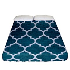 Tile1 White Marble & Teal Leather Fitted Sheet (queen Size) by trendistuff