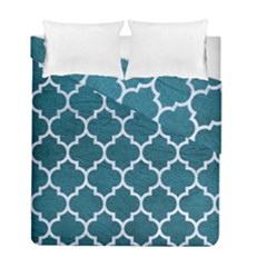 Tile1 White Marble & Teal Leather Duvet Cover Double Side (full/ Double Size) by trendistuff
