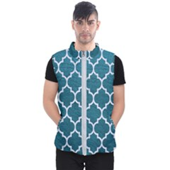 Tile1 White Marble & Teal Leather Men s Puffer Vest