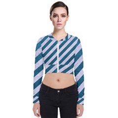 Stripes3 White Marble & Teal Leather (r) Bomber Jacket