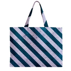 Stripes3 White Marble & Teal Leather Zipper Mini Tote Bag by trendistuff