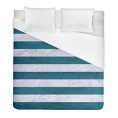 Stripes2white Marble & Teal Leather Duvet Cover (full/ Double Size) by trendistuff