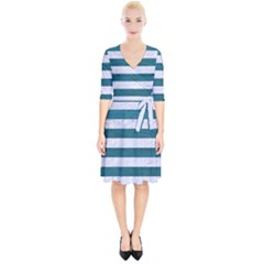 Stripes2white Marble & Teal Leather Wrap Up Cocktail Dress