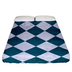 Square2 White Marble & Teal Leather Fitted Sheet (king Size) by trendistuff