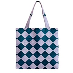 Square2 White Marble & Teal Leather Zipper Grocery Tote Bag by trendistuff