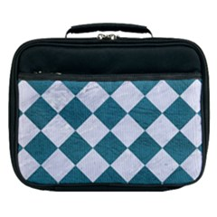 Square2 White Marble & Teal Leather Lunch Bag