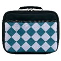 SQUARE2 WHITE MARBLE & TEAL LEATHER Lunch Bag View1