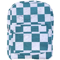 Square1 White Marble & Teal Leather Full Print Backpack by trendistuff