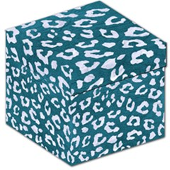 Skin5 White Marble & Teal Leather (r) Storage Stool 12   by trendistuff
