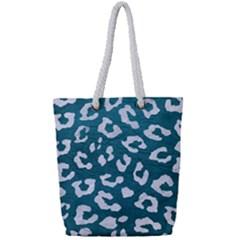 Skin5 White Marble & Teal Leather (r) Full Print Rope Handle Tote (small) by trendistuff