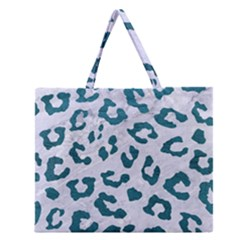 Skin5 White Marble & Teal Leather Zipper Large Tote Bag by trendistuff