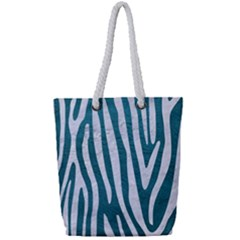 Skin4 White Marble & Teal Leather (r) Full Print Rope Handle Tote (small)