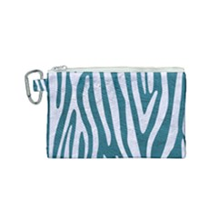 Skin4 White Marble & Teal Leather (r) Canvas Cosmetic Bag (small) by trendistuff