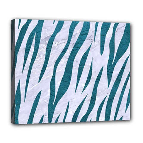 Skin3 White Marble & Teal Leather (r) Deluxe Canvas 24  X 20   by trendistuff