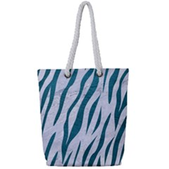Skin3 White Marble & Teal Leather (r) Full Print Rope Handle Tote (small) by trendistuff