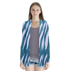 Skin3 White Marble & Teal Leather Drape Collar Cardigan