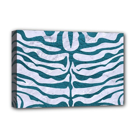 Skin2 White Marble & Teal Leather (r) Deluxe Canvas 18  X 12   by trendistuff