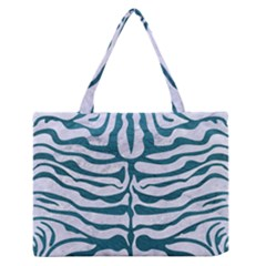 Skin2 White Marble & Teal Leather (r) Zipper Medium Tote Bag by trendistuff