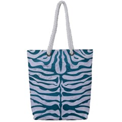 Skin2 White Marble & Teal Leather (r) Full Print Rope Handle Tote (small) by trendistuff