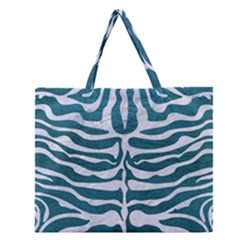 Skin2 White Marble & Teal Leather Zipper Large Tote Bag by trendistuff