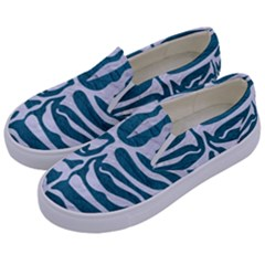 Skin2 White Marble & Teal Leather Kids  Canvas Slip Ons by trendistuff
