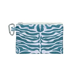 Skin2 White Marble & Teal Leather Canvas Cosmetic Bag (small)