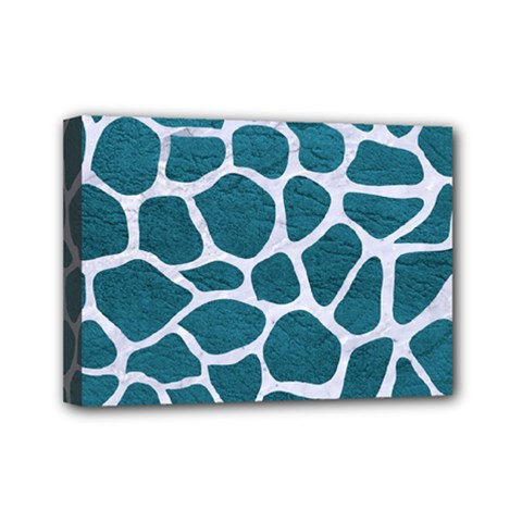Skin1 White Marble & Teal Leather (r) Mini Canvas 7  X 5  by trendistuff