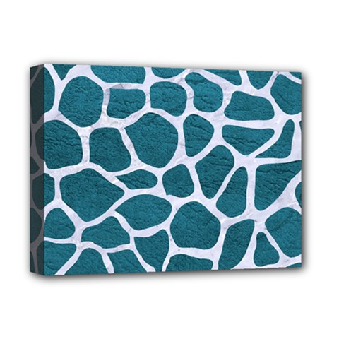 Skin1 White Marble & Teal Leather (r) Deluxe Canvas 16  X 12