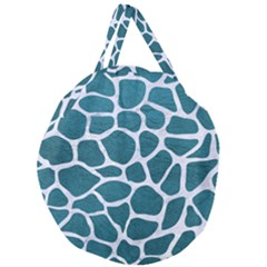 Skin1 White Marble & Teal Leather (r) Giant Round Zipper Tote by trendistuff